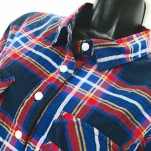 Old Navy Plaid Shirt Size XL Blue, Yellow, Red